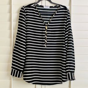Calvin Klein zipper front black white striped top